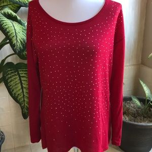 Chris & Carol red high-low top with gold stud trim